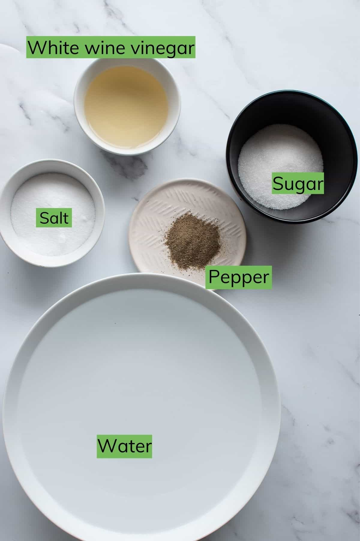 The ingredients needed to make brine laid out on a table.