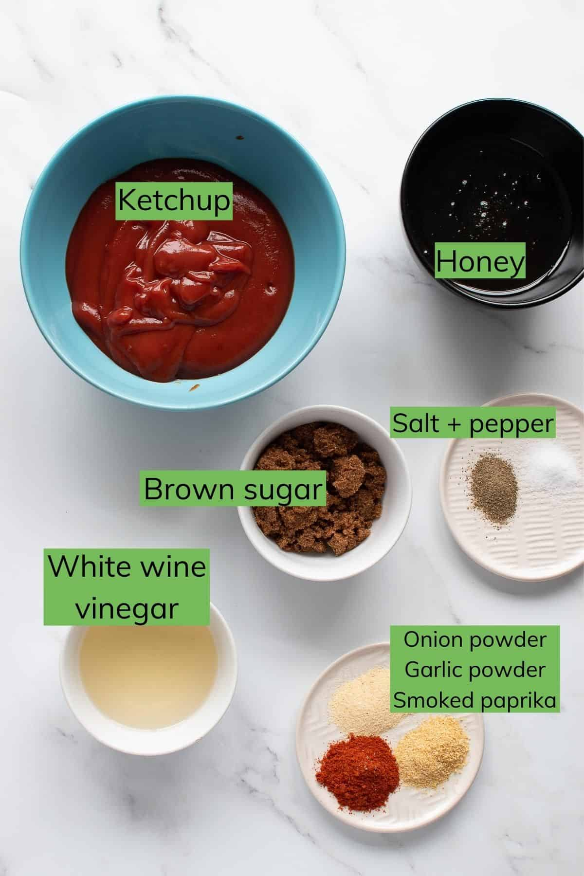 The ingredients for honey BBQ sauce laid out on a table.