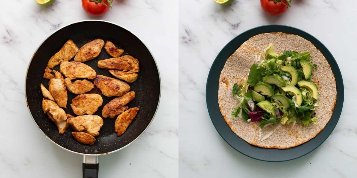 A frying pan with cooked chicken next to a plate with a tortilla topped with lettuce and avocado.