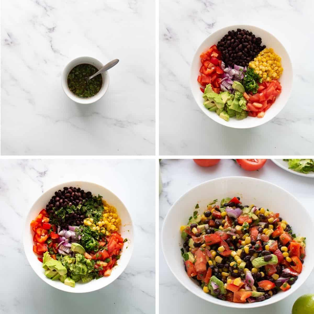 Step by step images showing how to make black bean corn salad.