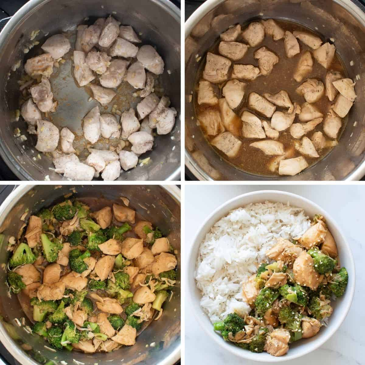 Step by step images showing how to make chicken and broccoli in an instant pot.
