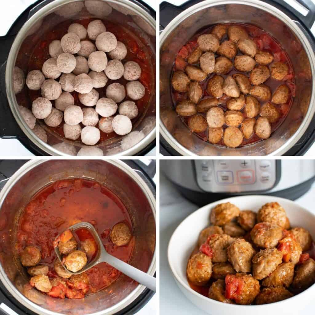 Step by step images showing how to cook meatballs in an instant pot.