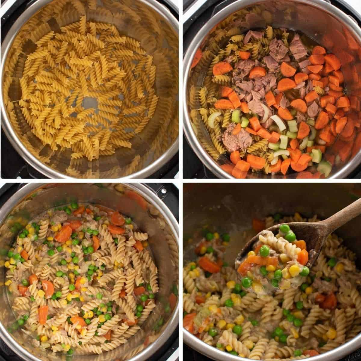 Step by step process showing how to make tuna casserole in an instant pot.