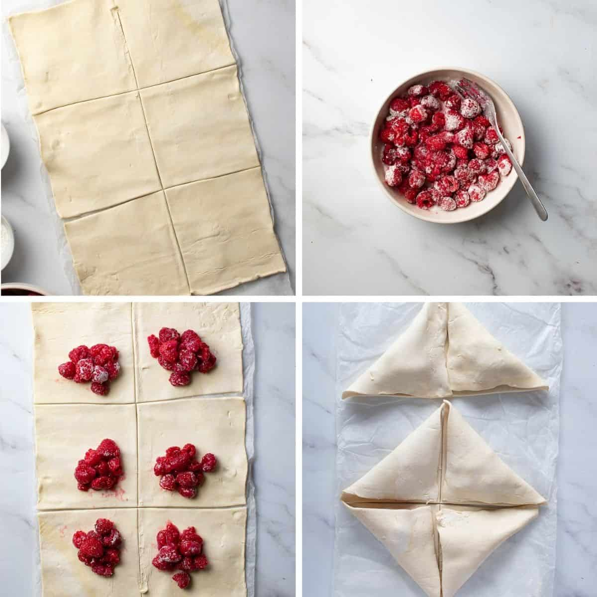 Step by step instructions showing how to make turnovers with raspberries.