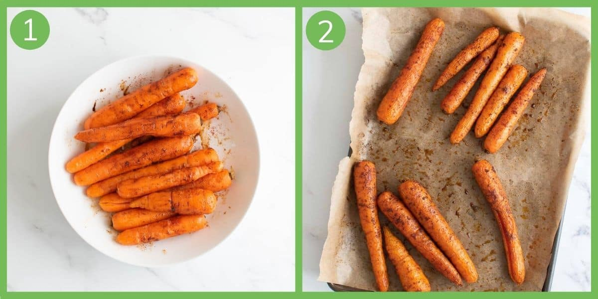 Steps showing how to make spicy roasted carrots.
