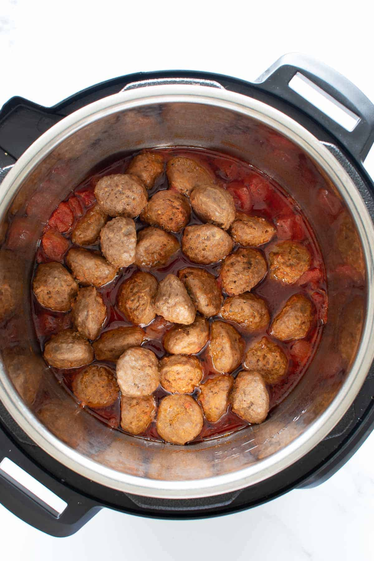 Cooked meatballs in instant pot.