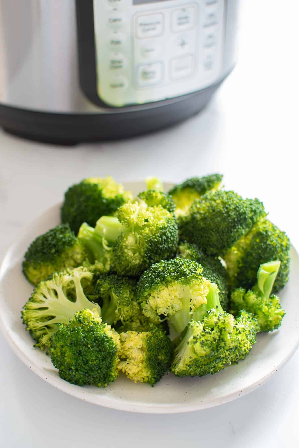 A plate with steamed broccoli florets, with an instant pot in the background.