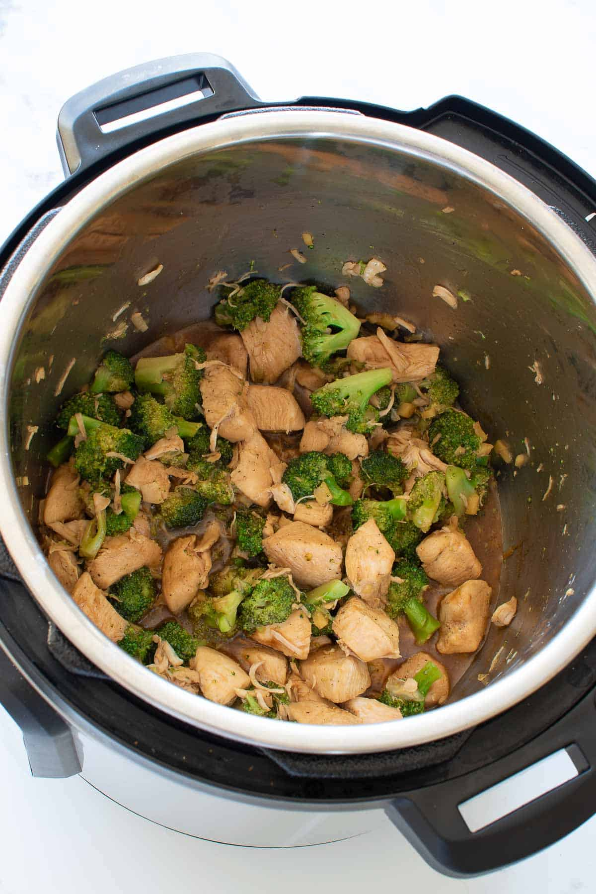 Chicken and broccoli in an instant pot.
