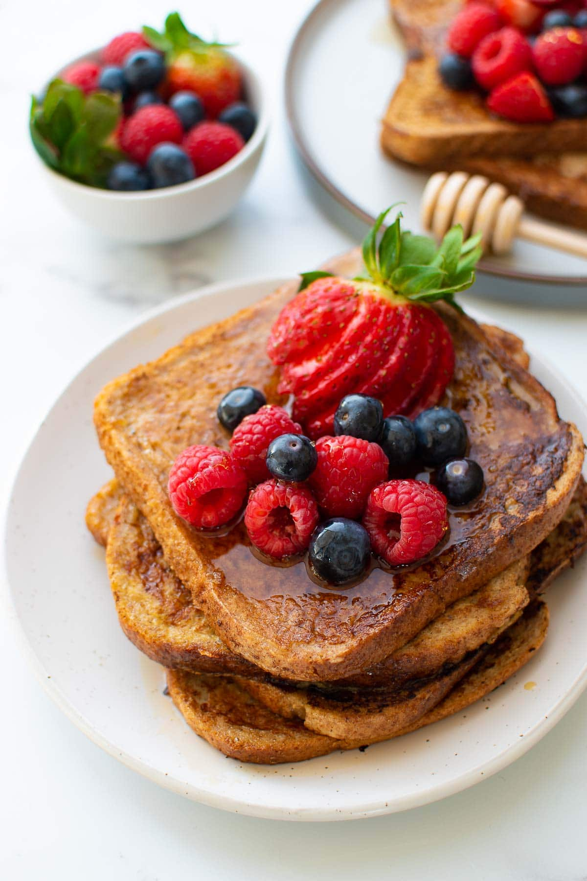 Dairy free French toast with maple syrup.
