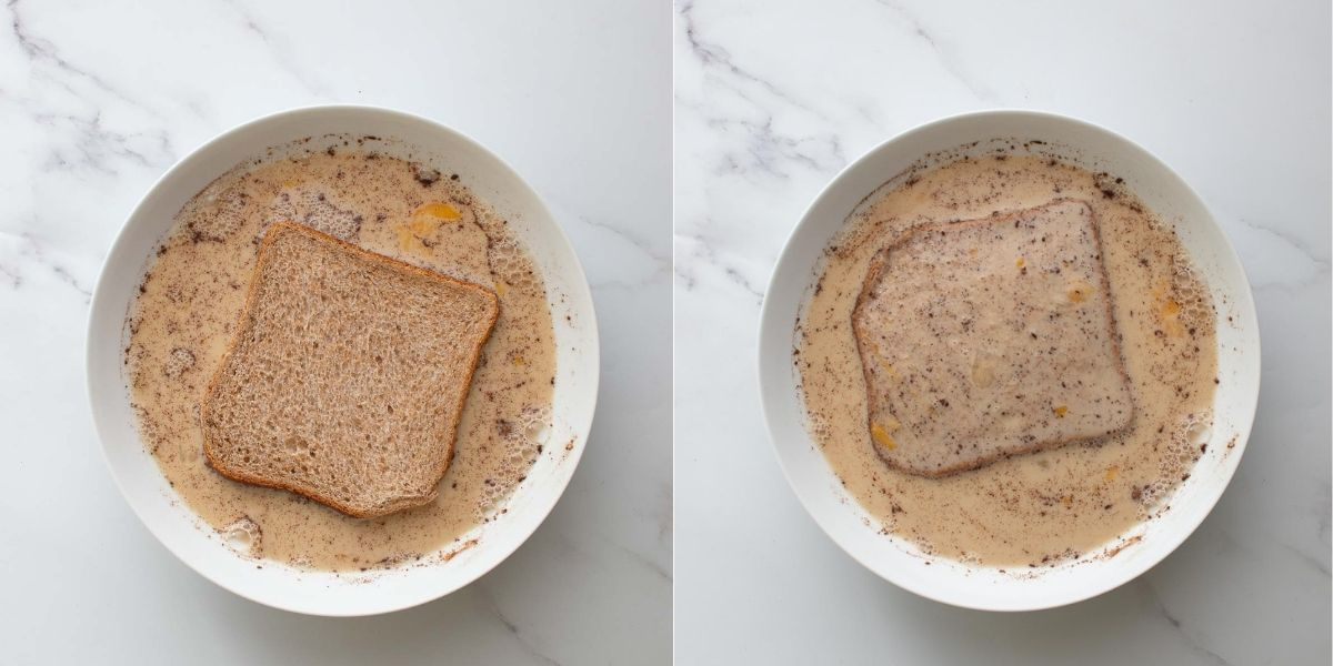 Two images showing how to dunk sliced bread into the French toast liquid.