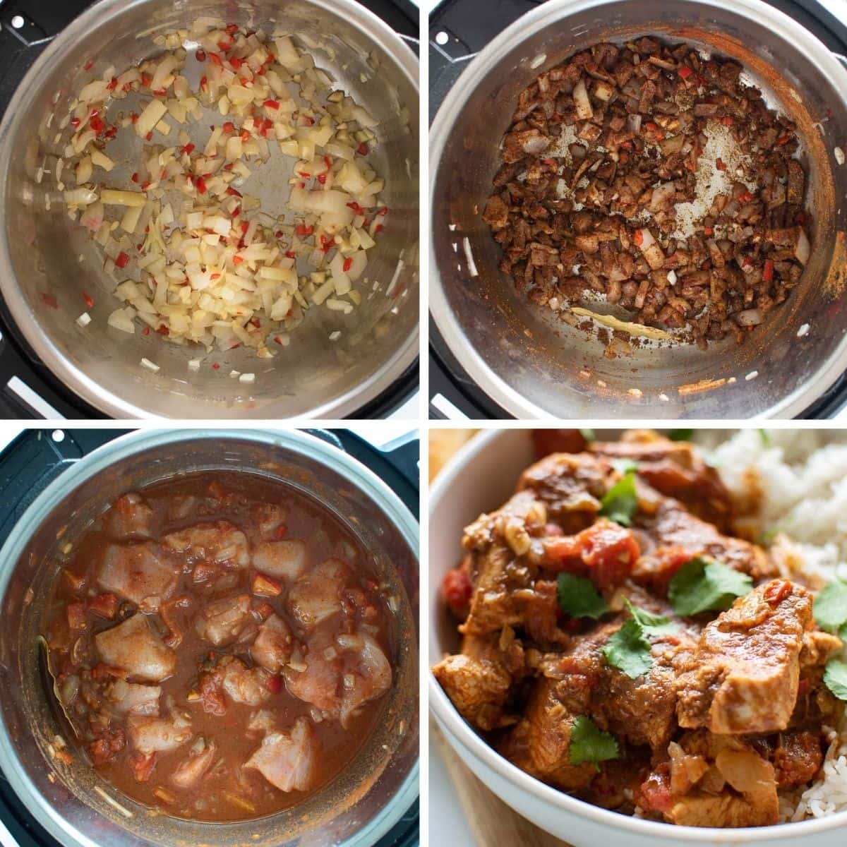 Step by step images showing how to make Instant Pot chicken curry.