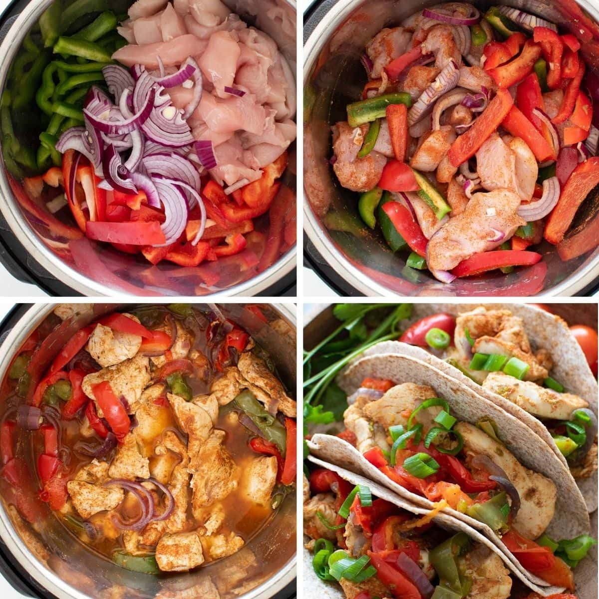 Step by step images showing how to make Instant Pot fajitas.