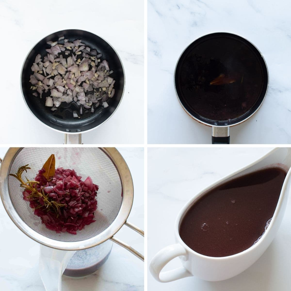 Step by step images showing how to make red wine jus.