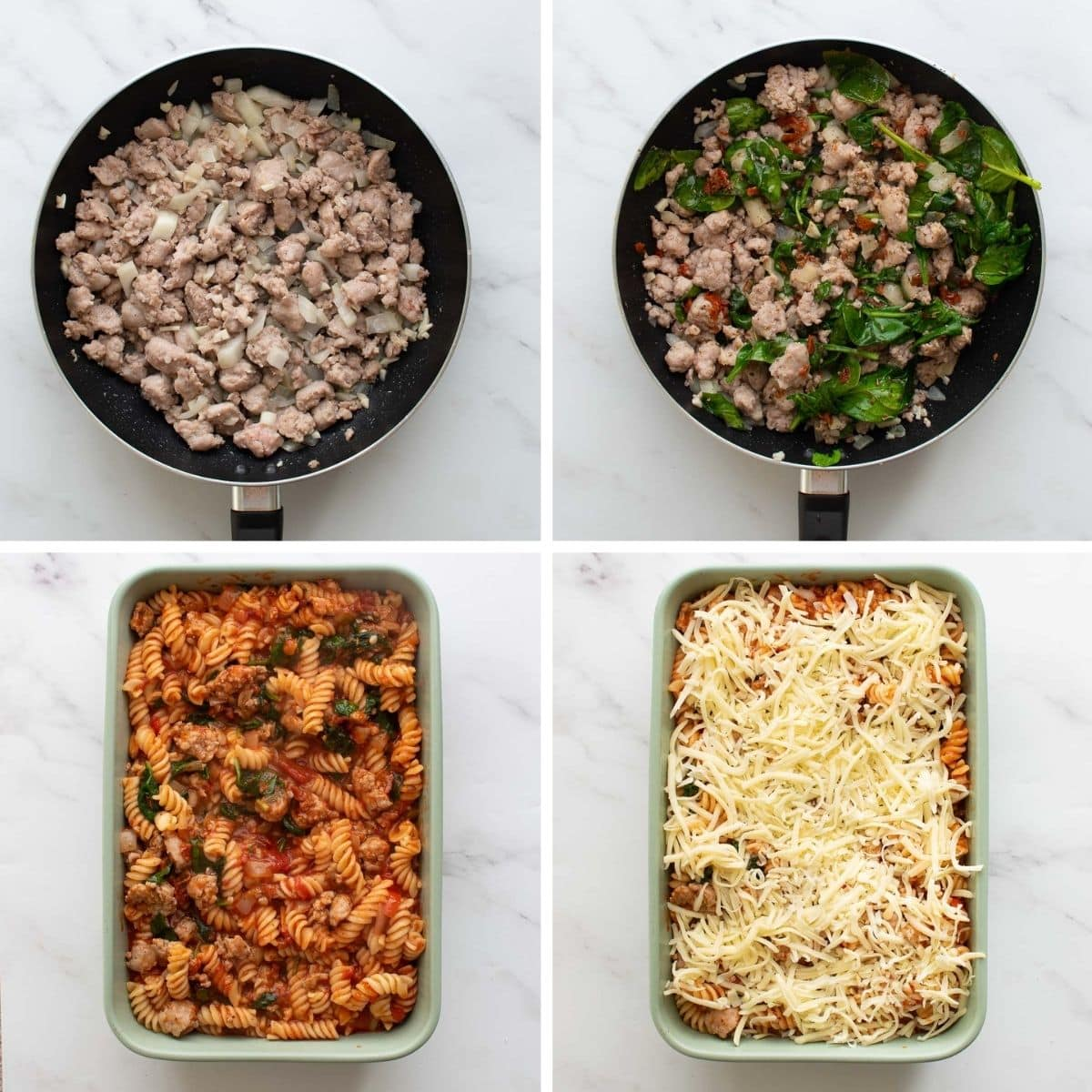Step by step images showing how to make Sausage Pasta Bake.