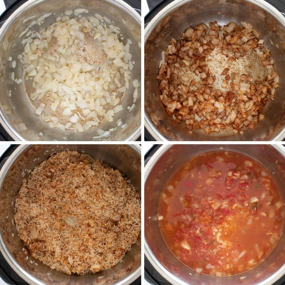 Step by step images showing how to make Spanish rice in your Instant Pot.