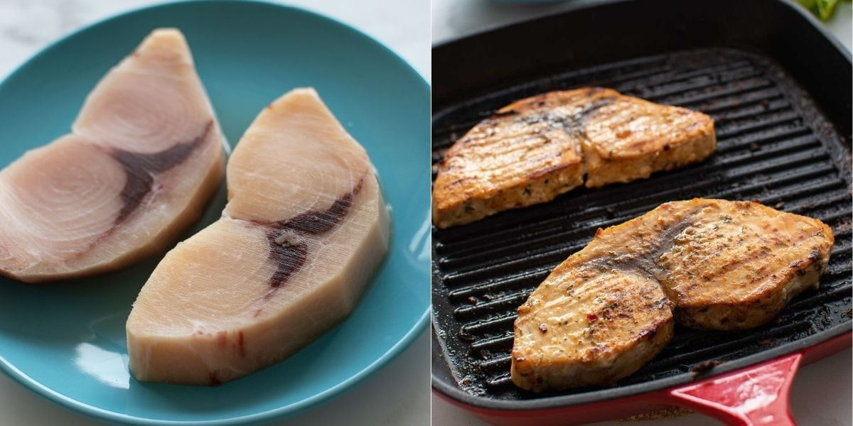 Step by step images showing how to make baked swordfish.