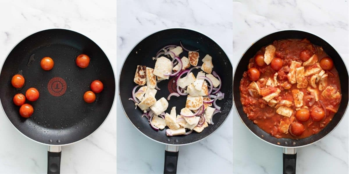 Step by step images showing how to make pasta with halloumi.