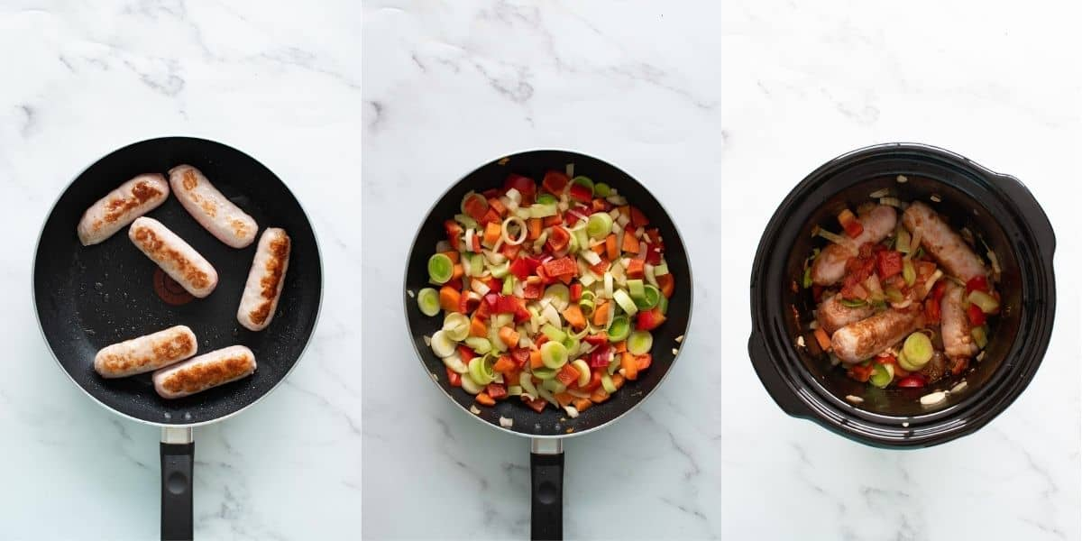Step by step images showing how to make slow cooker sausage casserole.