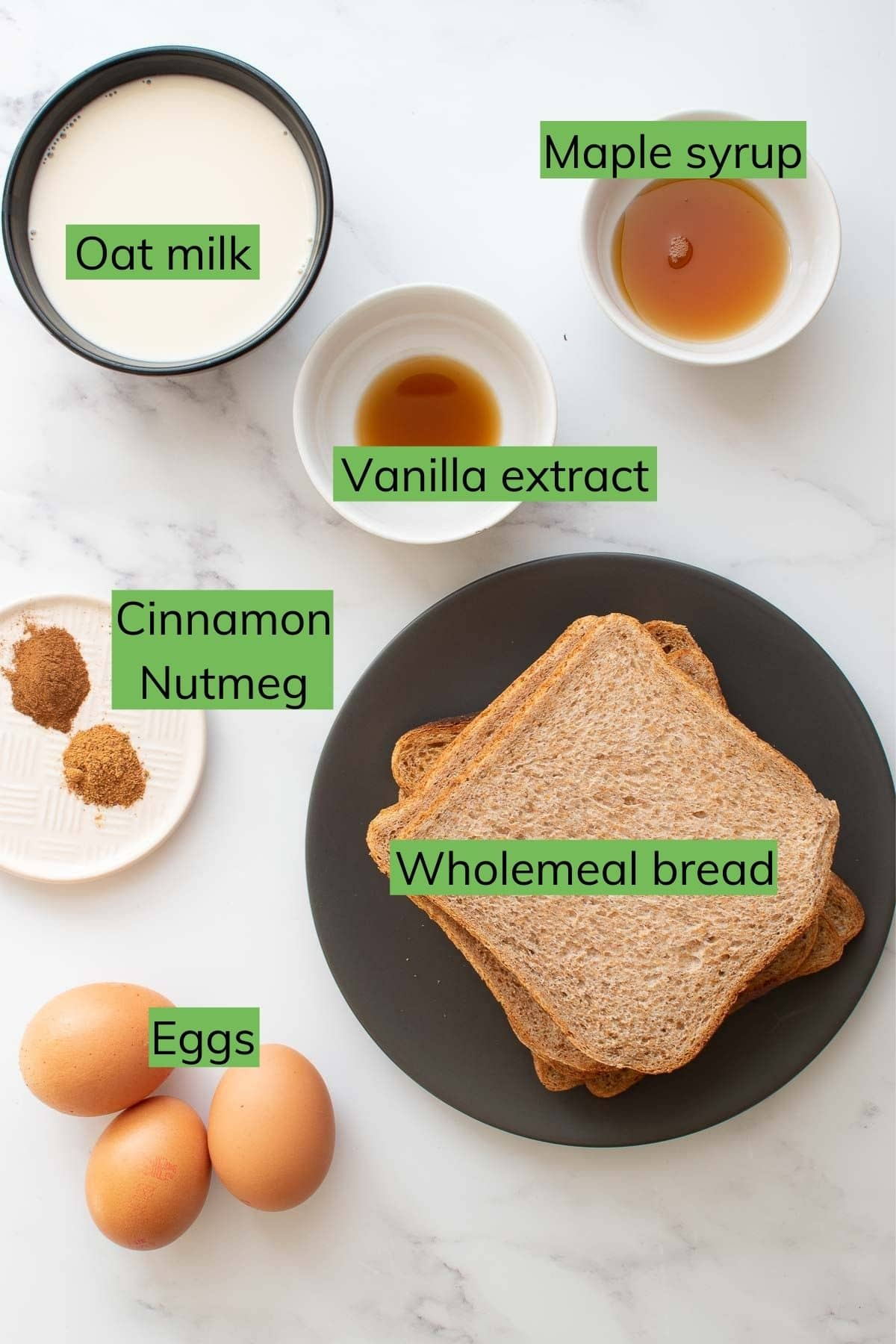 The ingredients needed to  make Healthy French Toast laid out on a table.