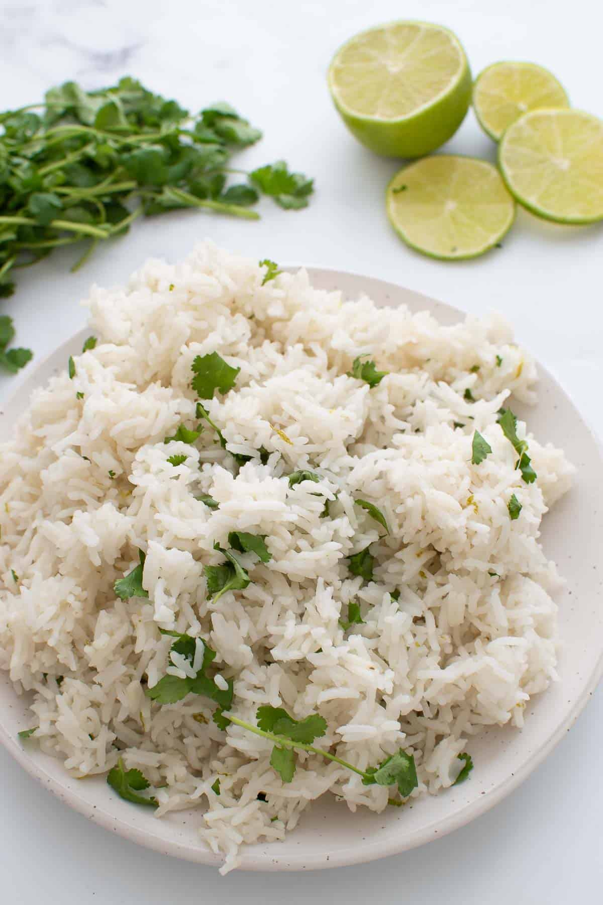Cilantro lime rice cooked in an instant pot.