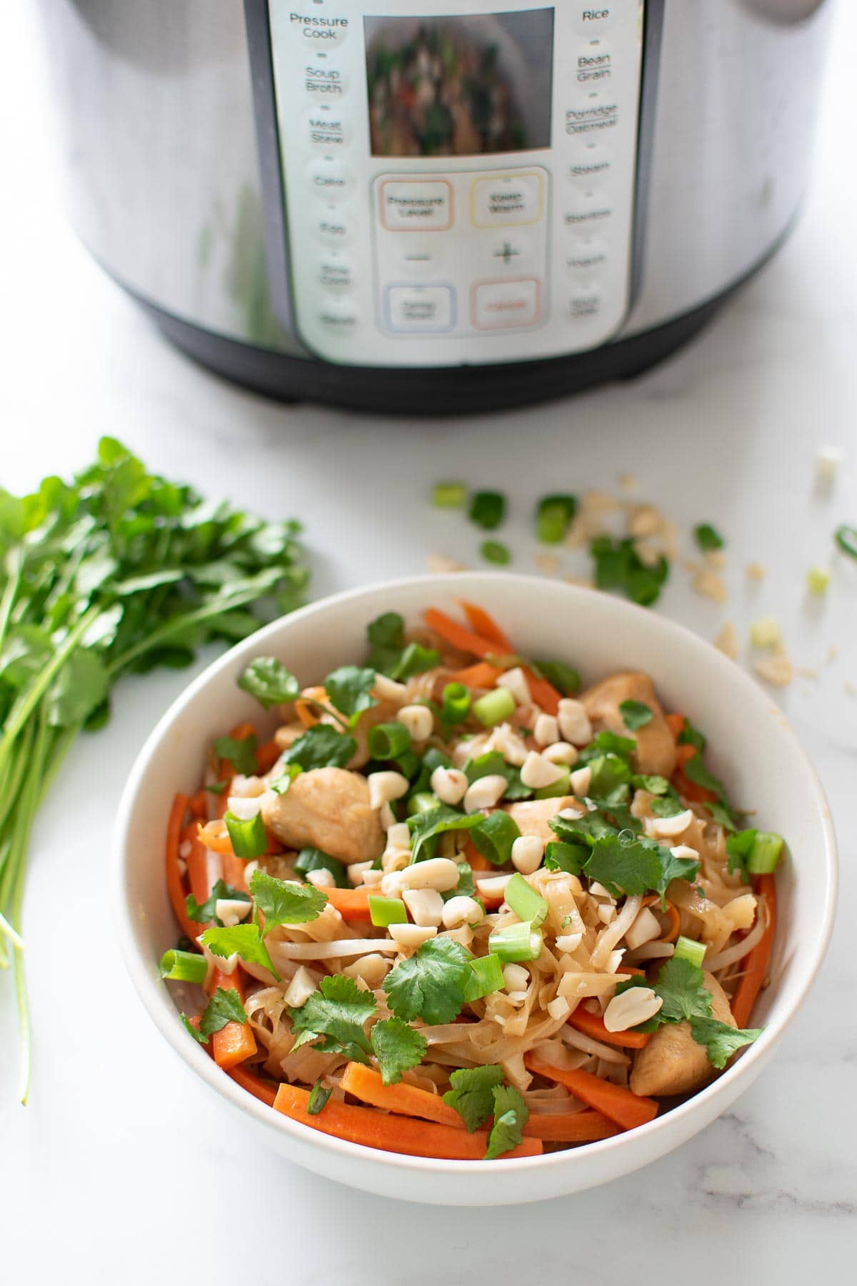 A bowl of pad thai in front of an Instant Pot.