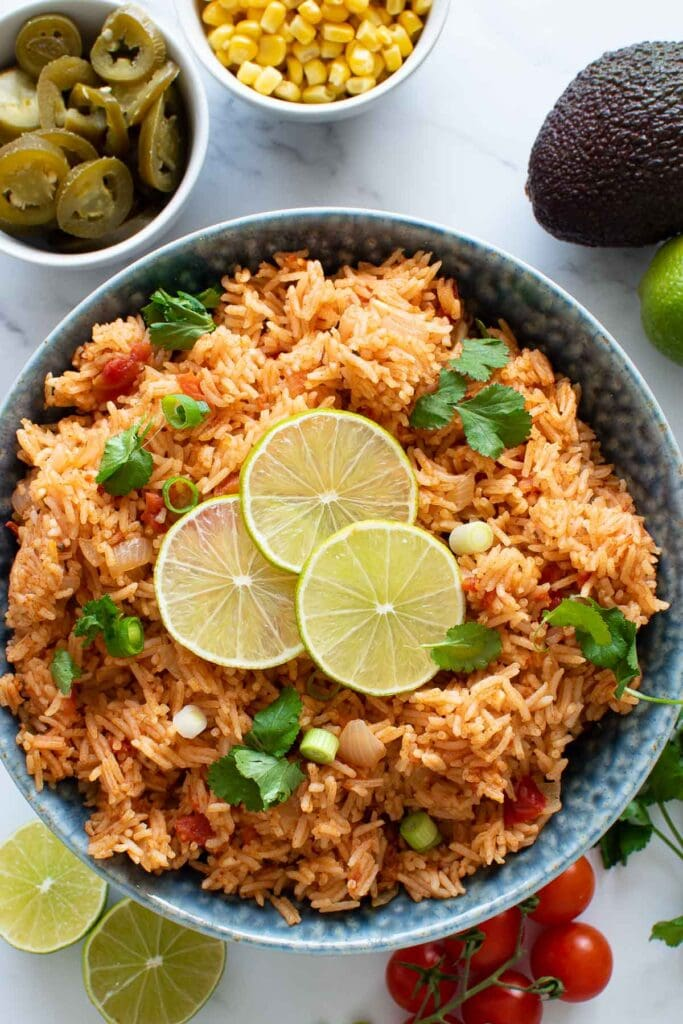 Instant pot Spanish rice in a bowl.