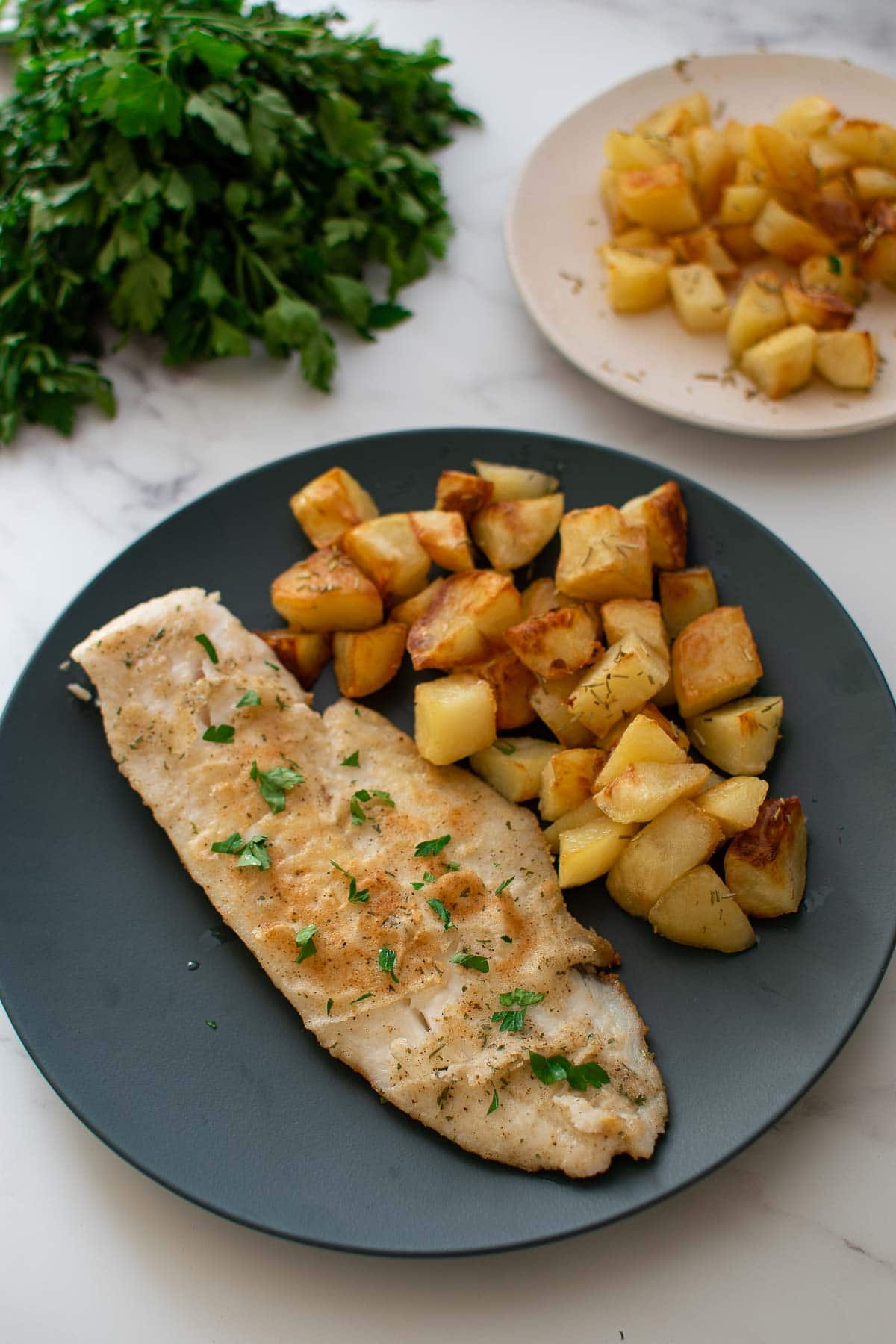 Pan fried hake and Parmentier potatoes on a plate.