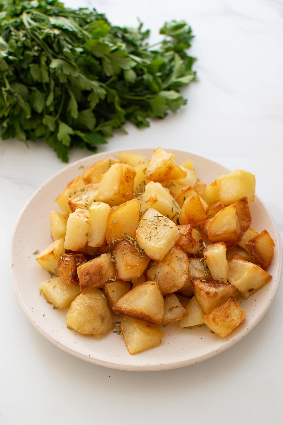 Parmentier potatoes on a plate.