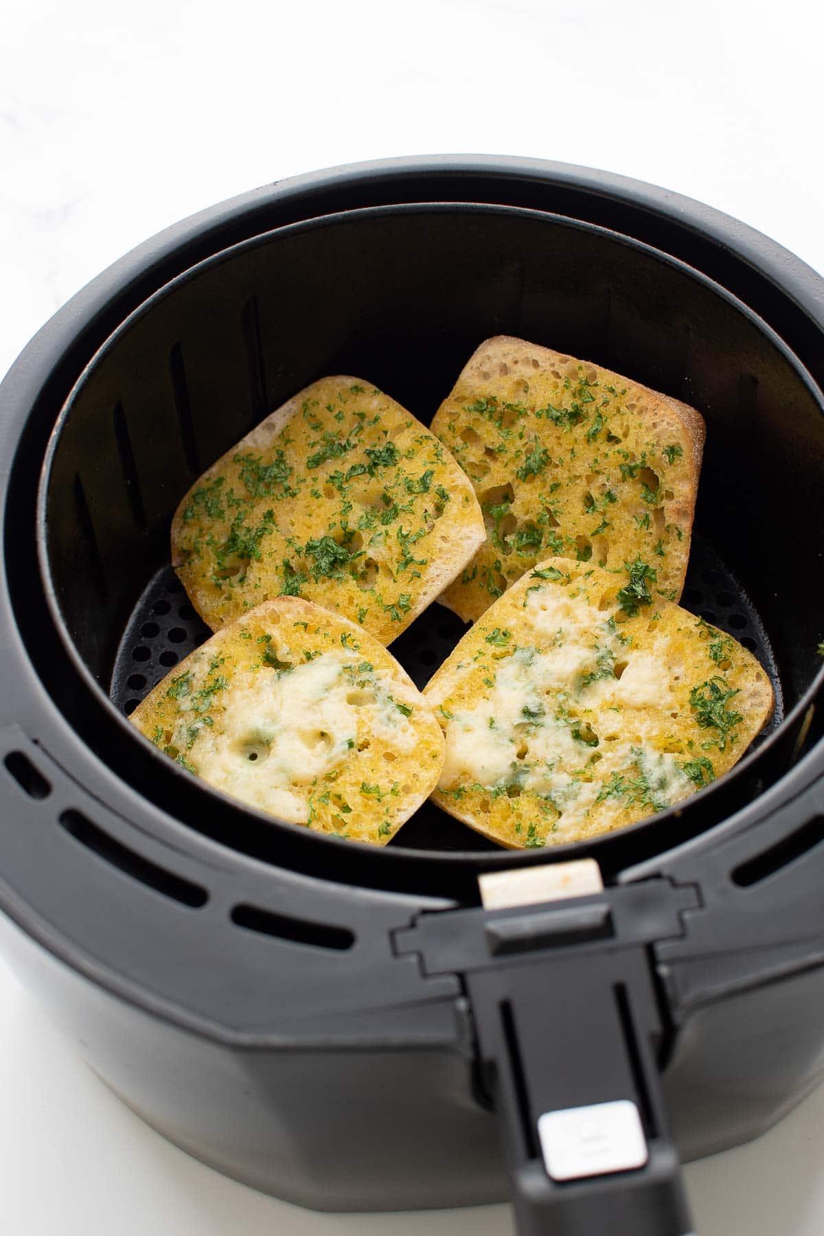 Air fried garlic bread with parsley.