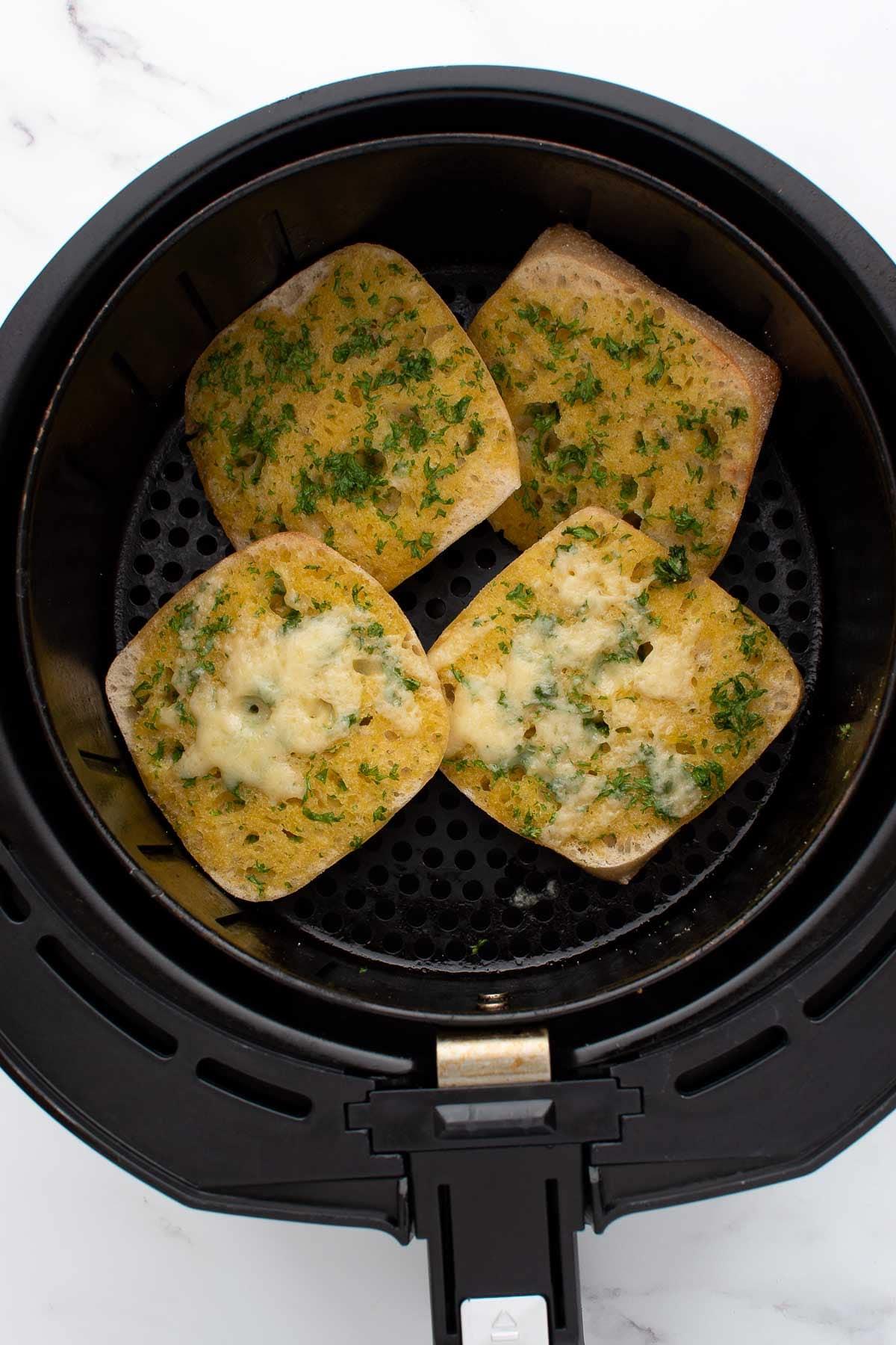 Garlic bread in an air fryer.