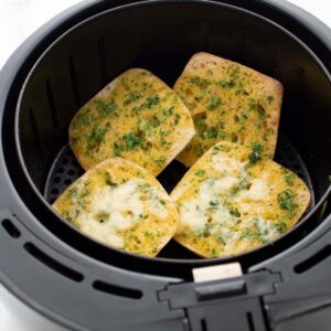 Homemade garlic bread in an air fryer.