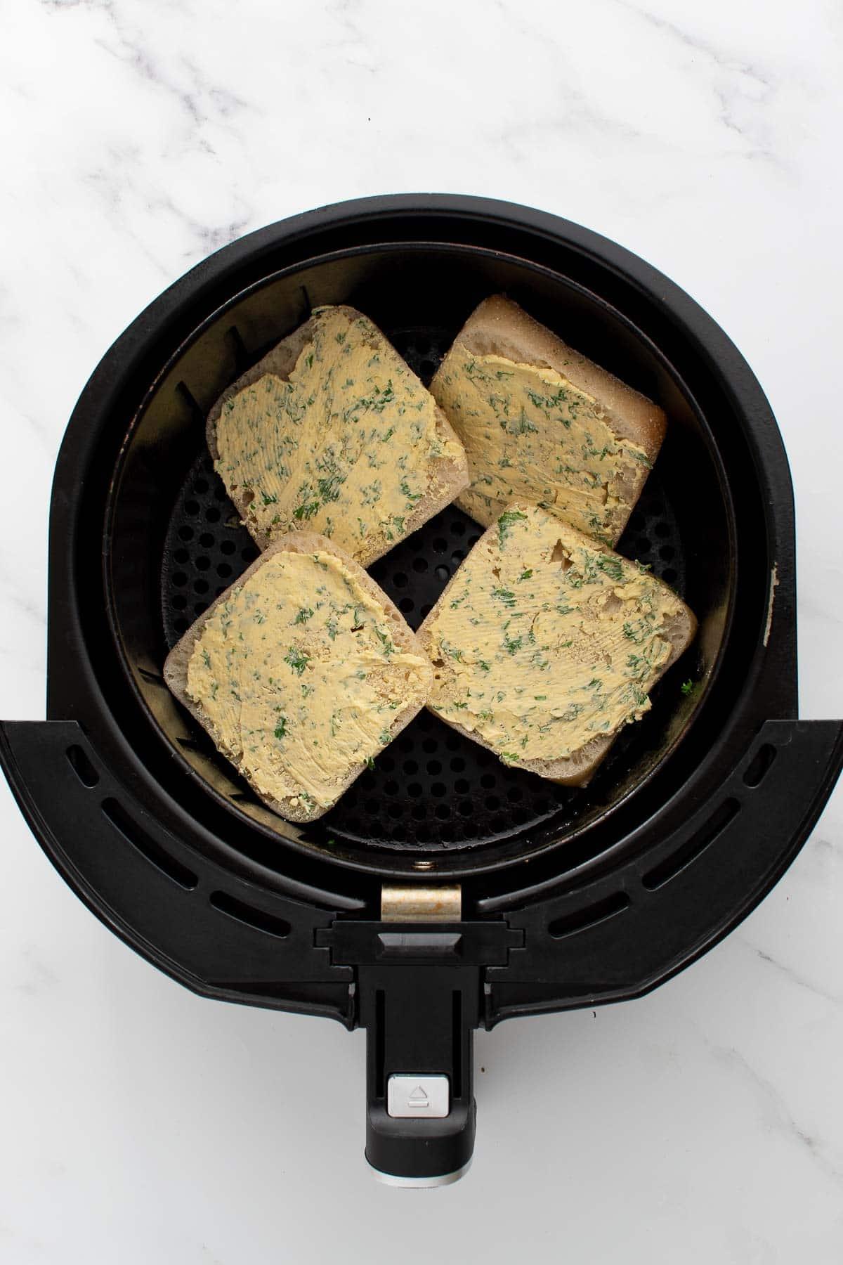 Ciabattas with garlic butter in an air fryer.