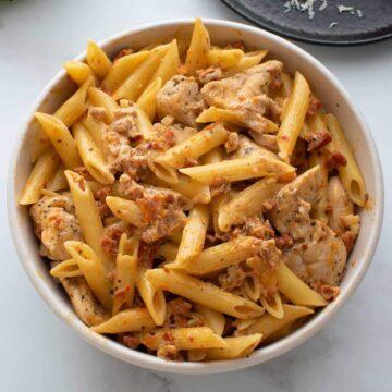 Chicken and chorizo pasta.