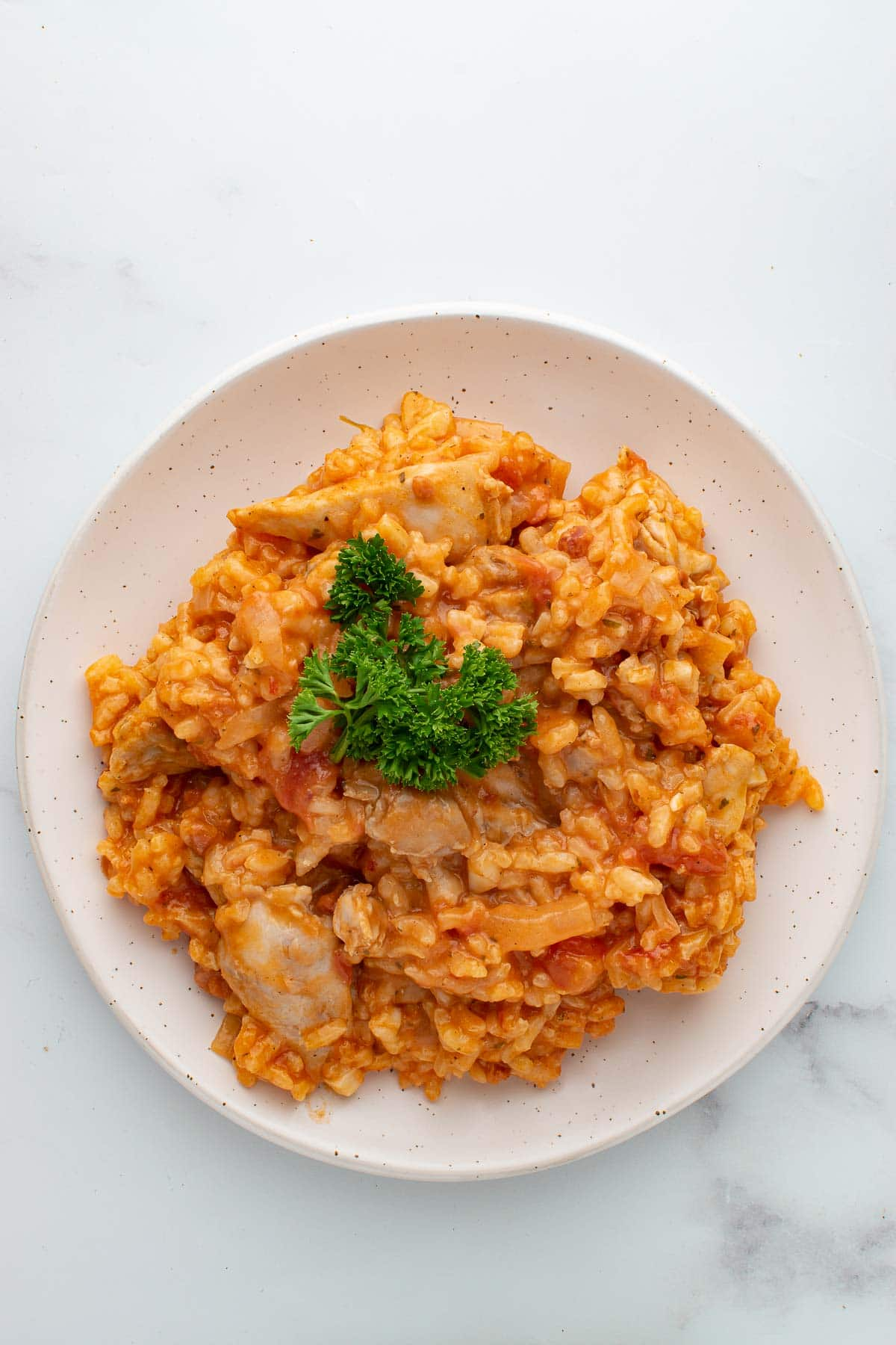 Risotto with chicken and chorizo.