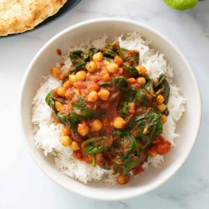 Chickpea and spinach curry.
