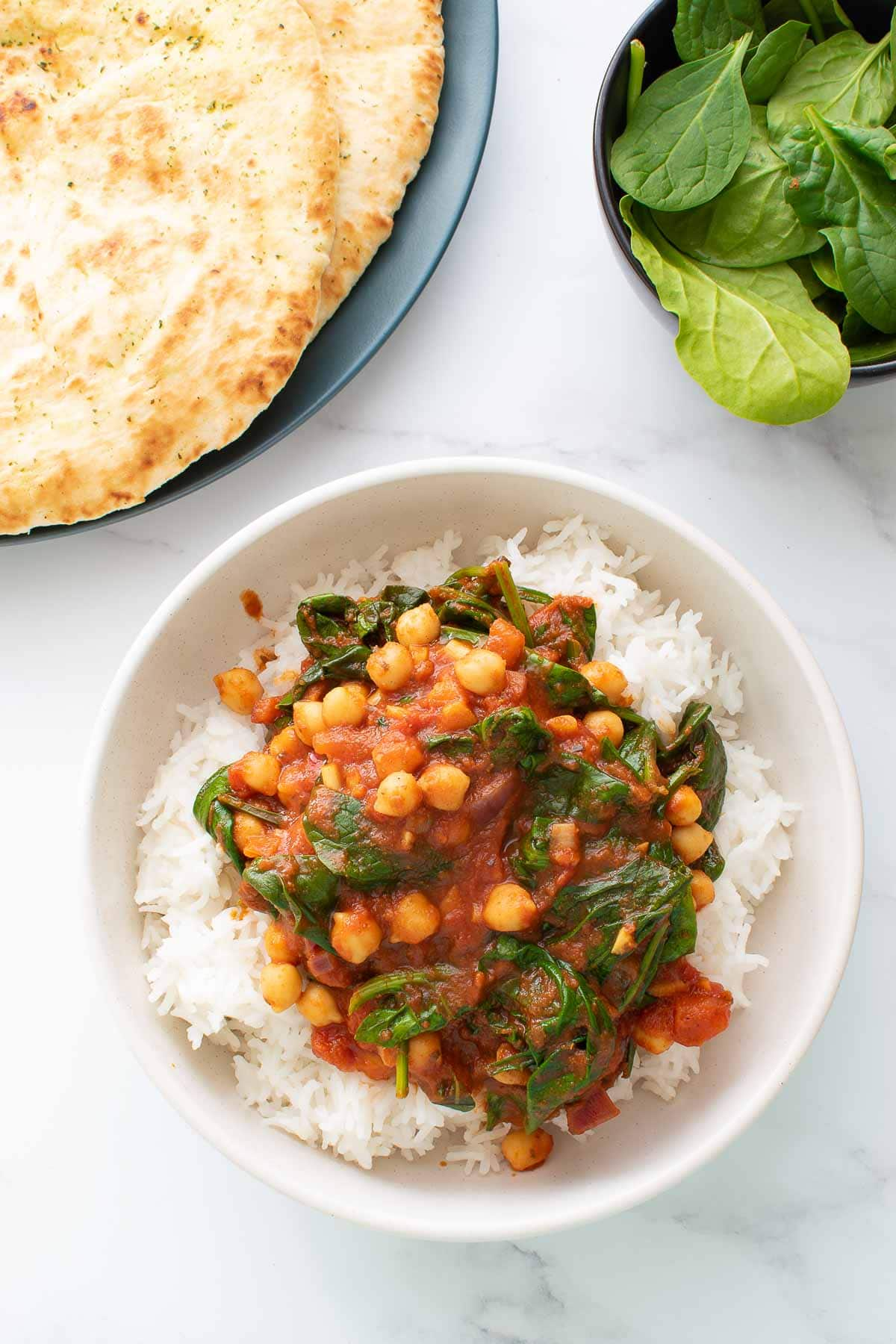 Easy chickpea and spinach curry with rice.