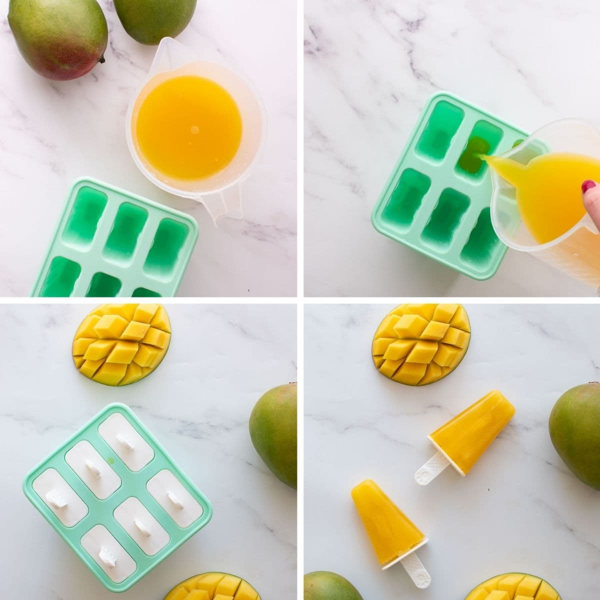 Step by step images showing how to make popsicles with mango juice.