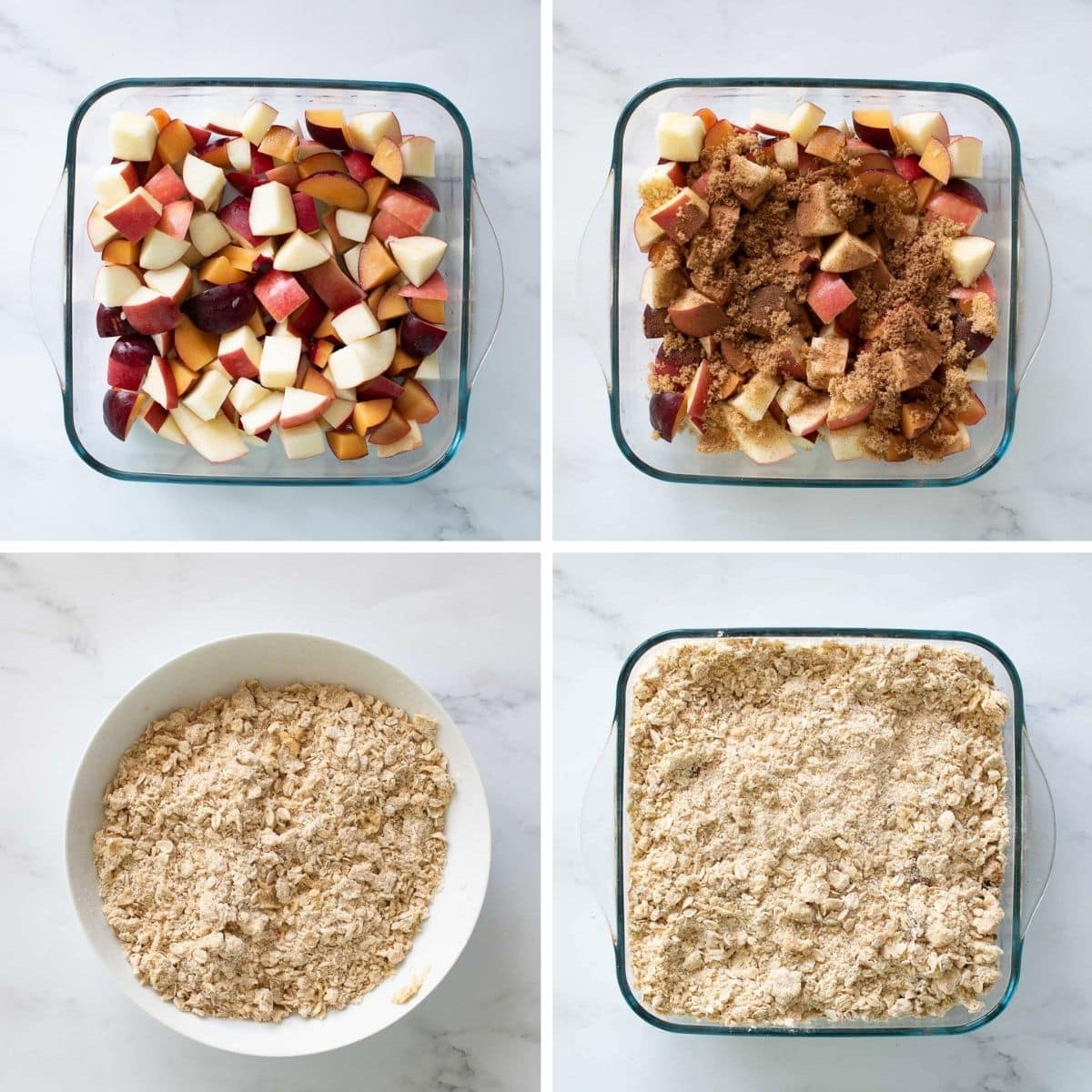 Step by step images showing how to make apple and plum crumble.