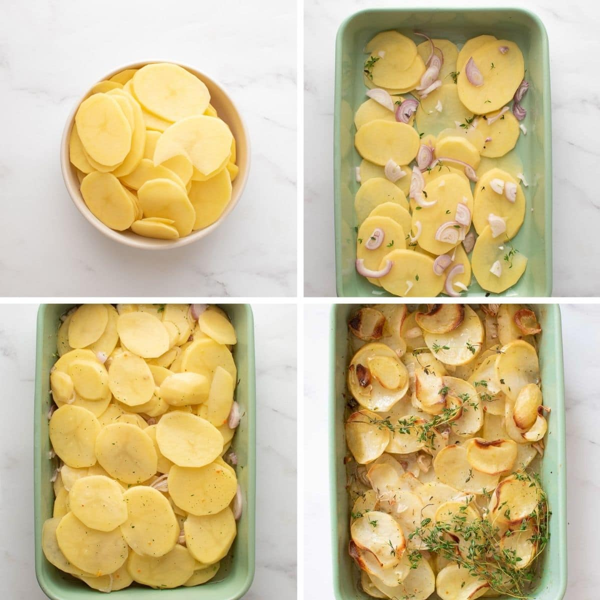 Step by step images showing how to make boulangere potatoes.