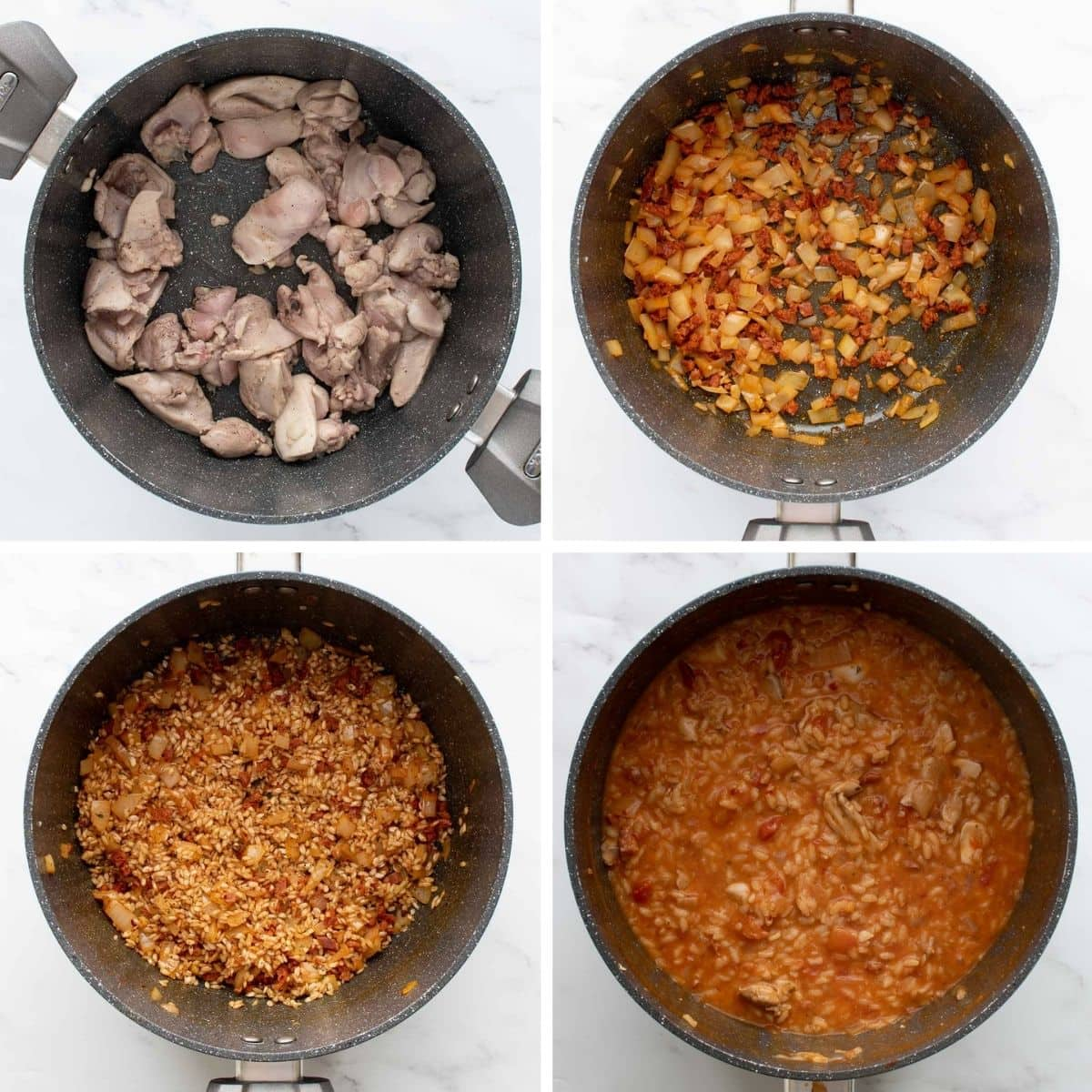 Step by step images showing how to make risotto with chicken and chorizo.
