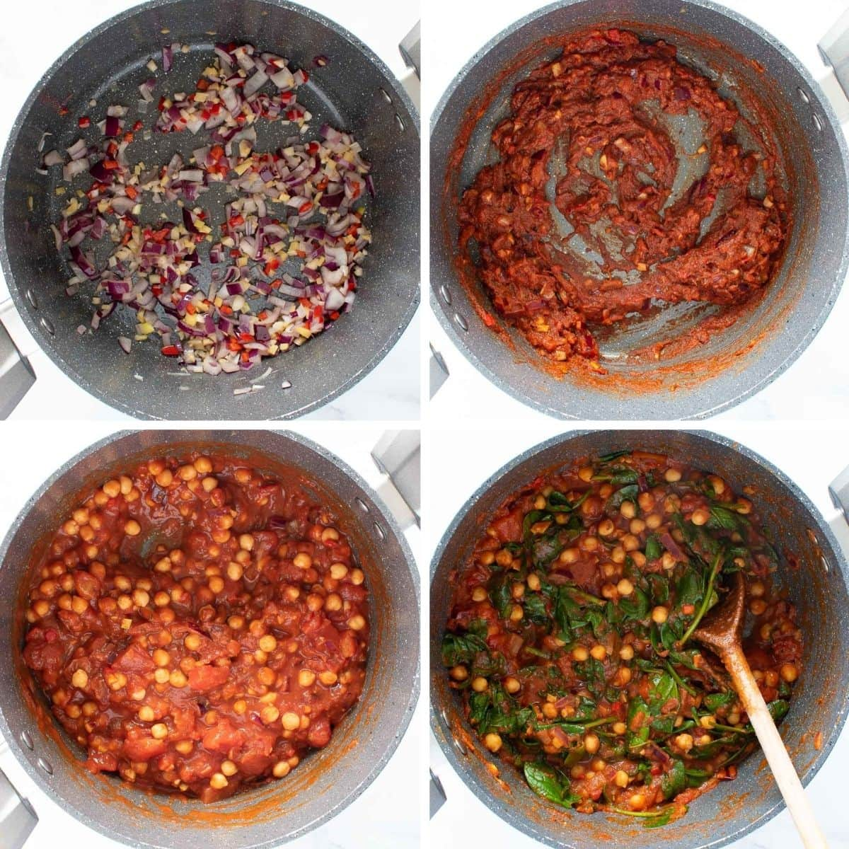 Step by step images showing how to make chickpea and spinach curry.