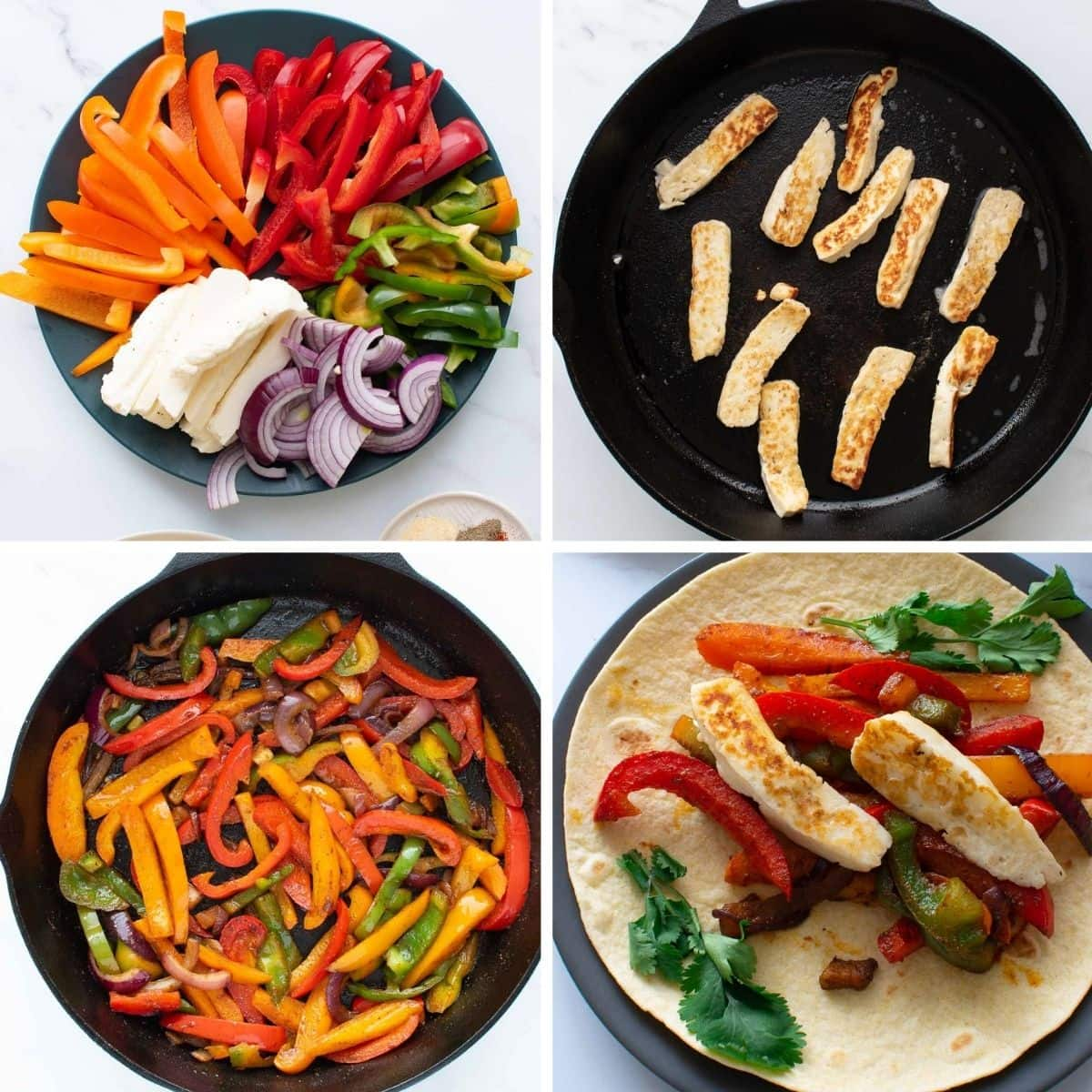 Step by step images showing how to make halloumi cheese fajitas in a cast iron pan.