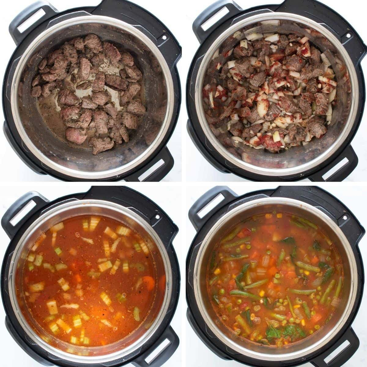 Step by step images showing how to make beef vegetable soup in an Instant Pot.