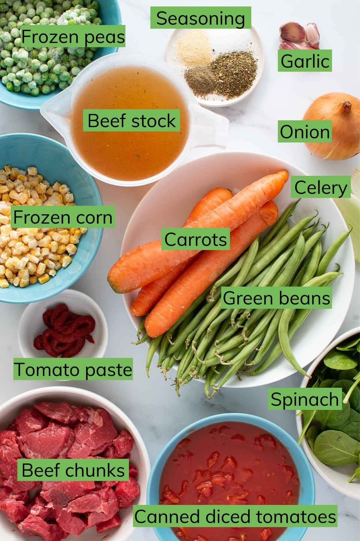 All ingredients needed to make Instant pot vegetable beef soup.