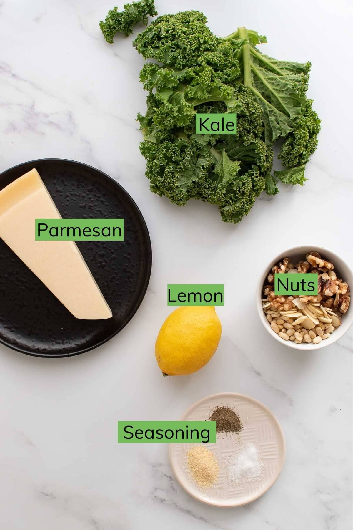 Ingredients needed to make lemon kale salad.