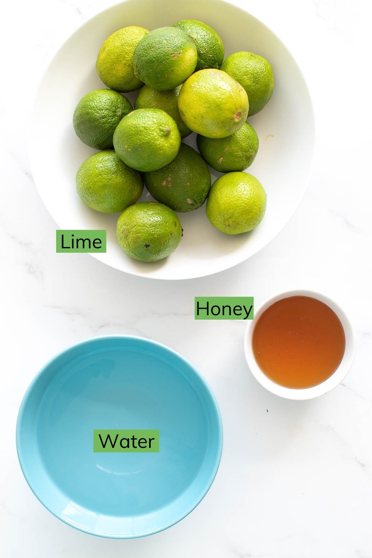 Lime, honey and water.