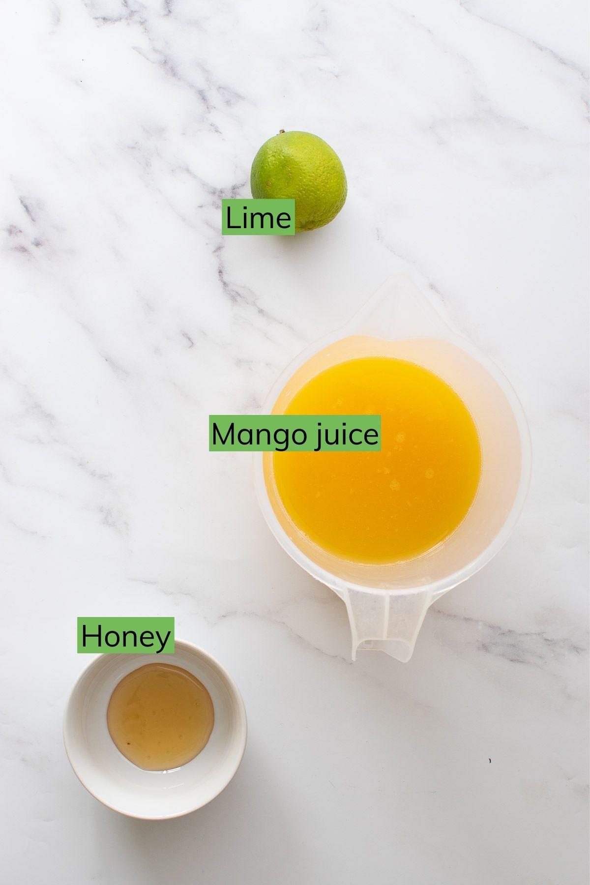 Mango juice, lime and honey.