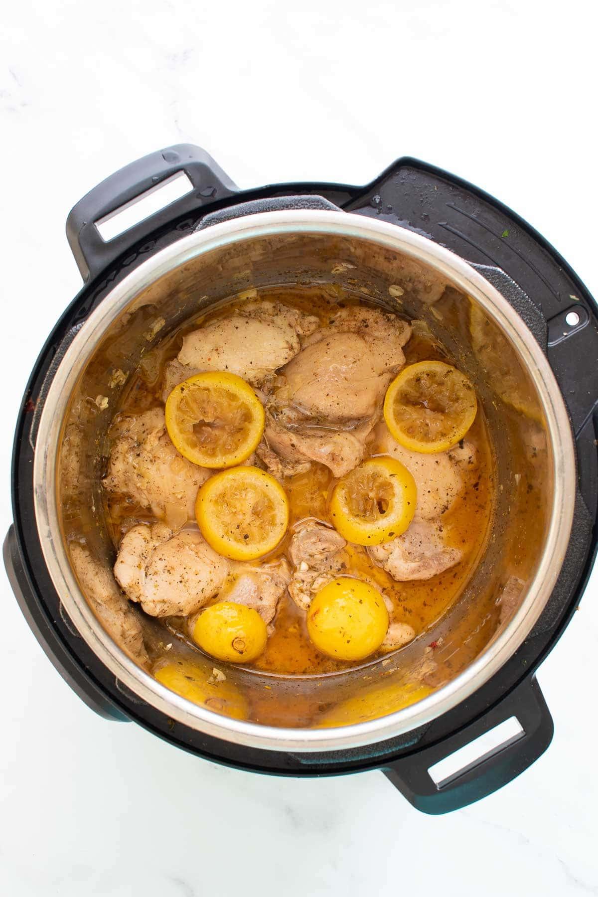 Lemon garlic chicken in an Instant Pot.