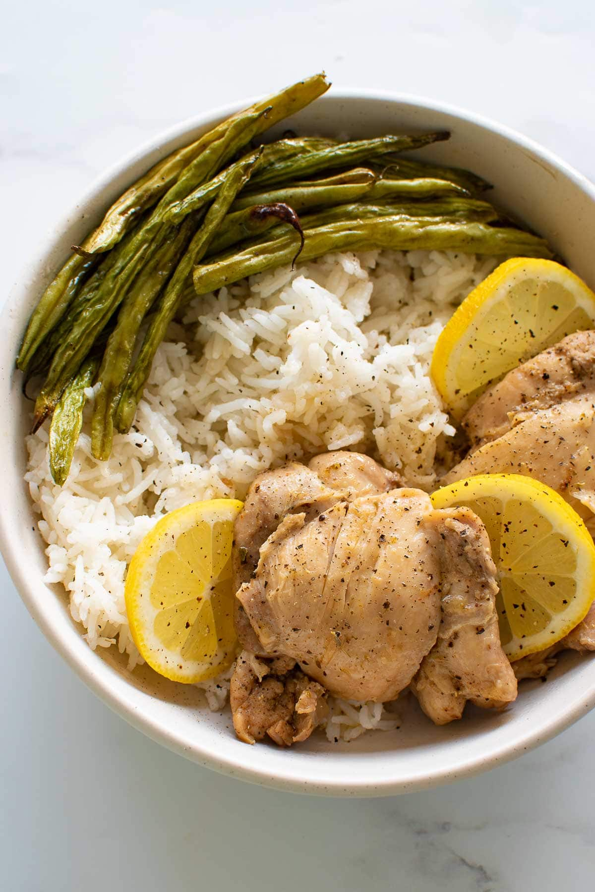 Pressure cooked lemon chicken with rice.