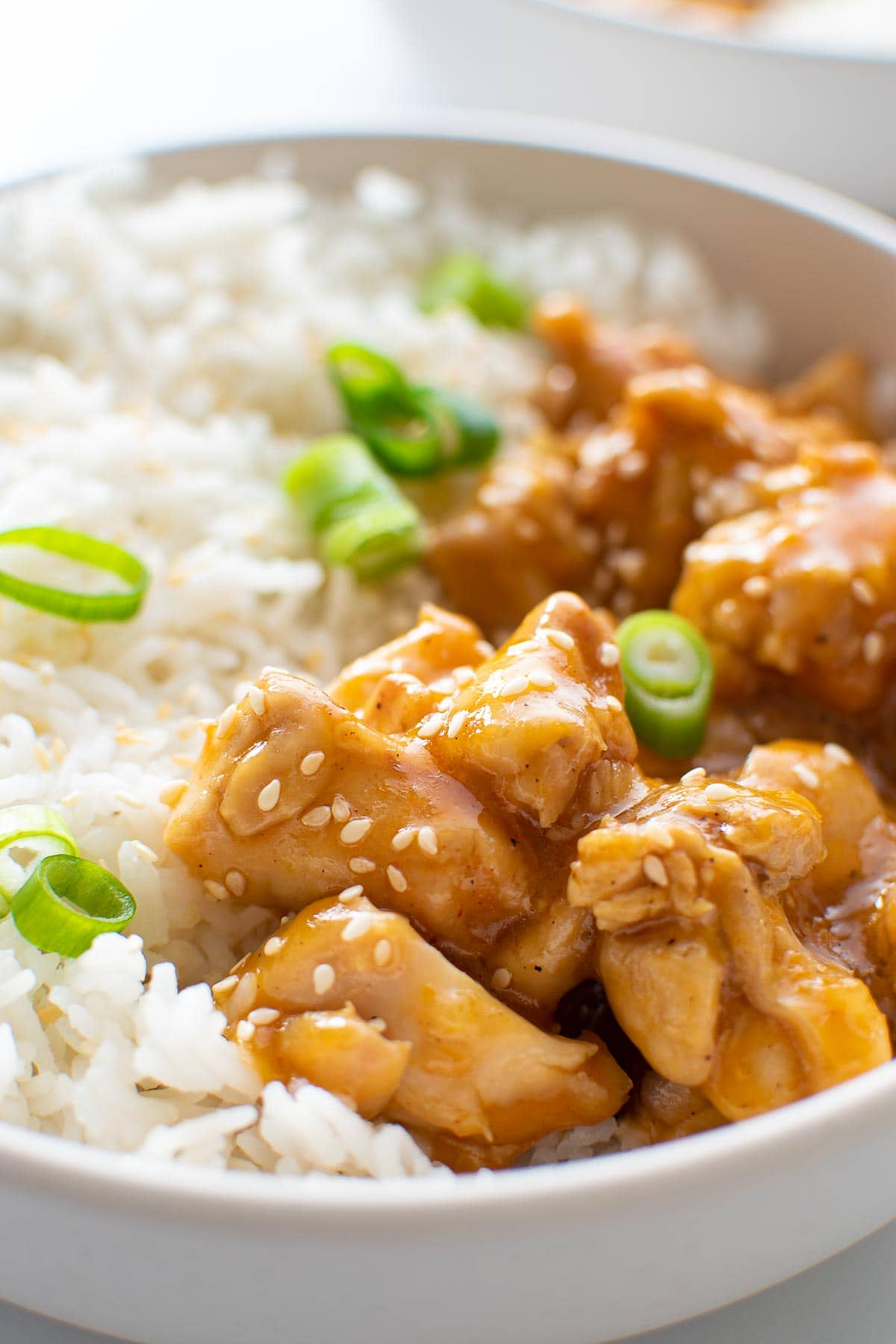 Sticky Instant Pot orange chicken with rice.